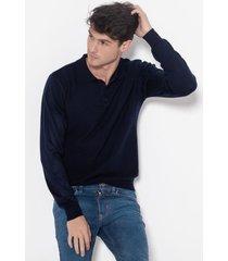 sweater azul equus con cuello polo
