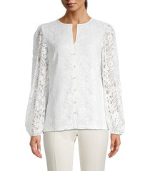 karl lagerfeld paris women's faux pearl & floral lace blouse - soft white - size xs