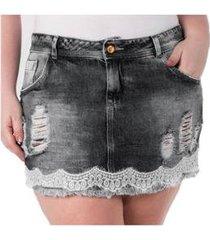 mini saia jeans confidencial extra com renda plus size