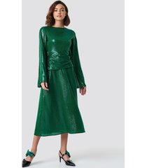 na-kd party gathering detail sequins midi dress - green