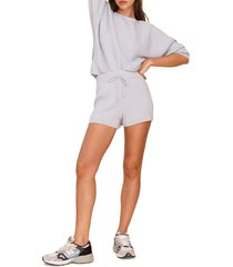 women's reformation cort ribbed organic cotton pullover & shorts, size small - blue