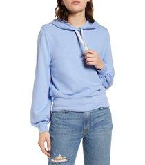 women's madewell bubble sleeve hoodie crop sweatshirt, size x-large - blue