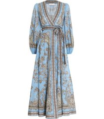 fiesta wrap long dress in aqua paisley
