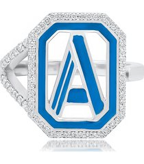 colette 18kt white gold gatsby a initial diamond and enamel ring -