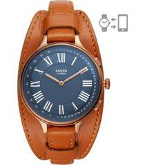 fossil women's eleanor luggage leather strap hybrid smart watch 36mm