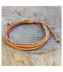 silver beaded wristband bracelet, 'warm honey' (thailand)