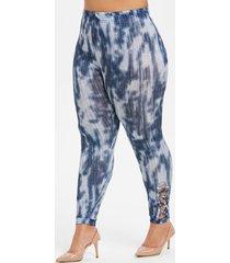 plus size tie dye high waist cross side skinny leggings