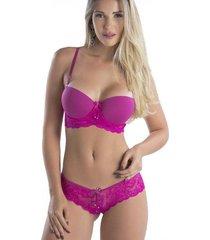 conjunto lingerie renda tanga laço lilás