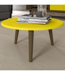mesa de centro redonda brilhante 2074520 amarelo - bechara móveis