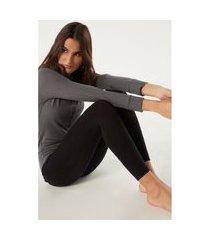 legging ultraleves em cashmere modal canelada - preto p