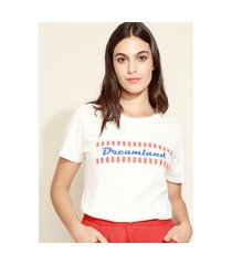 "t-shirt feminina mindset dreamland"" manga curta decote redondo off white"""