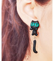 cute animal black cat little kitty soft clay stud ciondola gli orecchini per le donne ear giacche