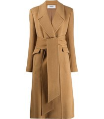 chalayan wrap belted coat - neutrals