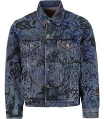 graffiti print denim jacket, blue