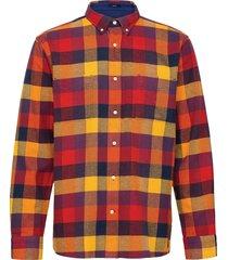 d2. flannel melange check reg bd overhemd casual oranje gant