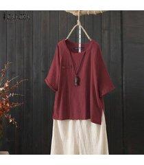 zanzea mujeres asimétrica de split hem tapas de la camisa de cuello redondo casual tamaño normal de la blusa plus -rojo