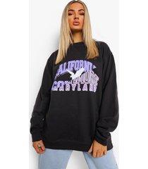 oversized gesplitste varsity sweater, charcoal