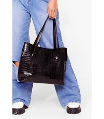 womens want a day thing croc tote bag - black