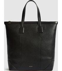 reiss elliott - tumbled leather tote bag in black, mens