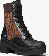 mk stivale combat brea in pelle e jacquard con logo - blk/brown - michael kors