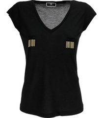 elisabetta franchi short-sleeved t-shirt with logo and micro chains