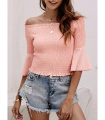 yoins rosa blusa sin mangas con hombros descubiertos y medias mangas