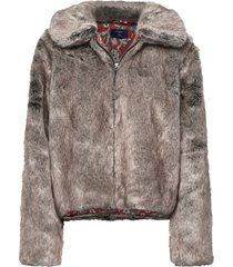 boho faux fur jacket outerwear faux fur paars superdry