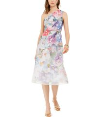 adrianna papell one-shoulder floral organza dress