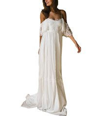 lace beach wedding dresses gown spaghetti straps boho bohemian bridal dress