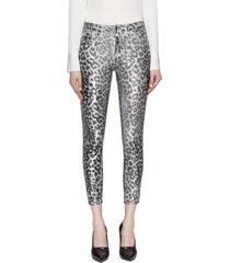 'margot' crackle leopard foil print skinny jeans