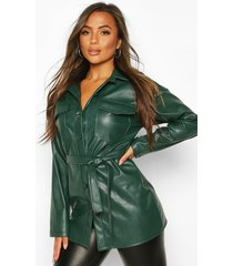 petite faux leather belted longline shirt jacket, green