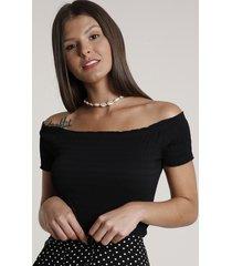 blusa feminina cropped ombro a ombro manga curta preta