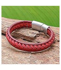 leather braided wristband bracelet, 'cool style in crimson' (thailand)