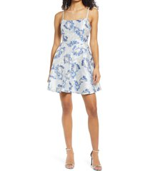 women's speechless shimmer floral jacquard fit & flare dress, size 13 - blue
