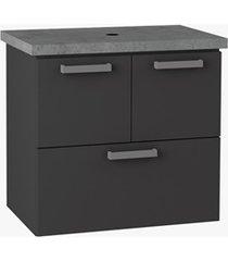 toucador para banheiro em aço com bancada ísis 54x57cm preto fosco e cinza