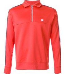 ami bicolor sweatshirt with polo collar - red