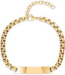 eye candy la men's christopher goldtone titanium dog tag chain bracelet