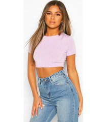 petite recycled basic crop top, lilac
