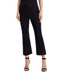 derek lam women's velvet leopard-print crop flare pants - navy - size 6