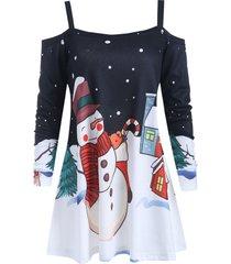 christmas snowman print long sleeve blouse