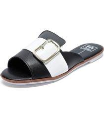 sandalia blanco/negro moleca