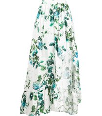 blumarine asymmetric ruffled floral print skirt - white