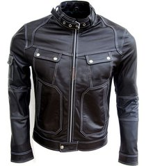 men leather jacket, biker leather jacket belted collar