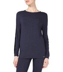 memoi women's velvet-trim 2-piece pajama set - black - size xl