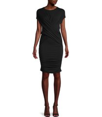 frame women's draped muscle t-shirt dress - noir - size s