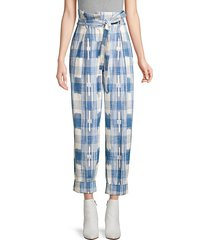 hollie plaid tie-waist trousers