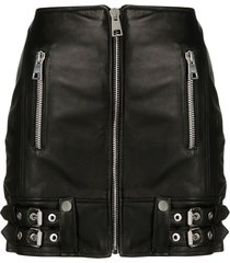 manokhi buckle-detail leather skirt - black