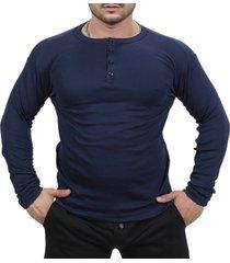 camiseta henley classic slim fit manga longa masculino azul escuro - multicolorido - masculino - dafiti