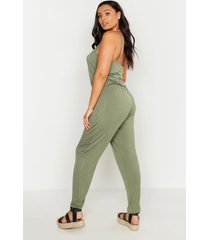 plus basic cami jumpsuit, khaki