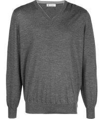 brunello cucinelli v-neck pullover - grey